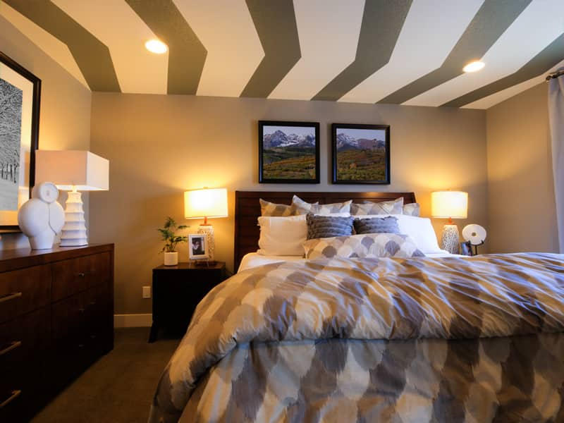 Contemporary bedroom painted ceiling