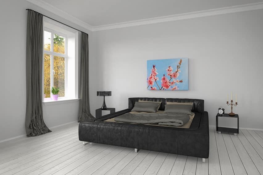 Dark modern bedroom theme bright painting