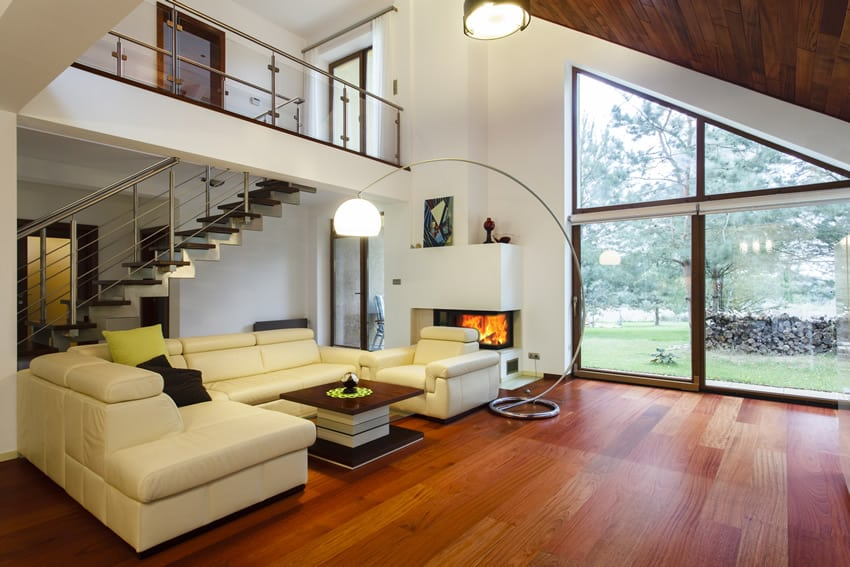 Designer house living space with wood flooring and garden view