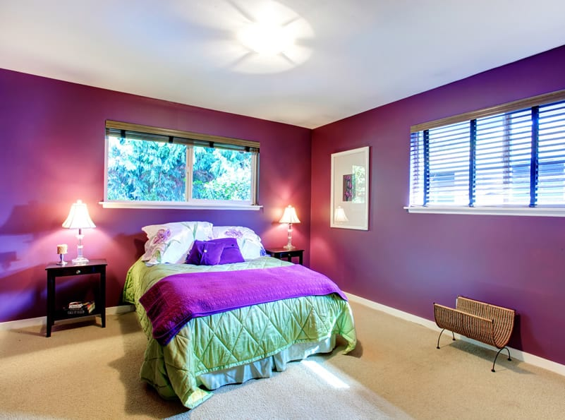 Inviting purple bedroom green cover