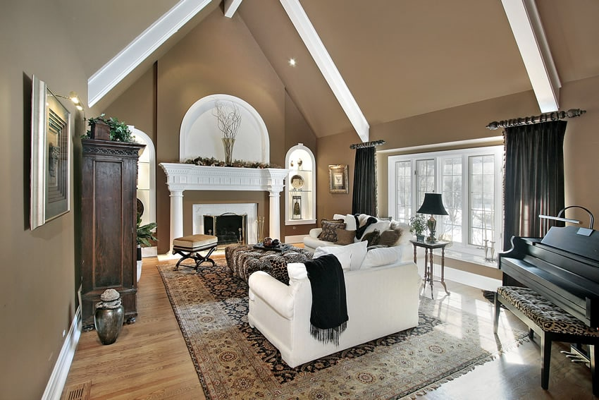 Living room design for luxury home with brown and white decor