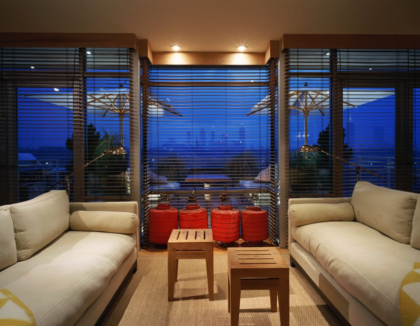 Living room with city skyline view