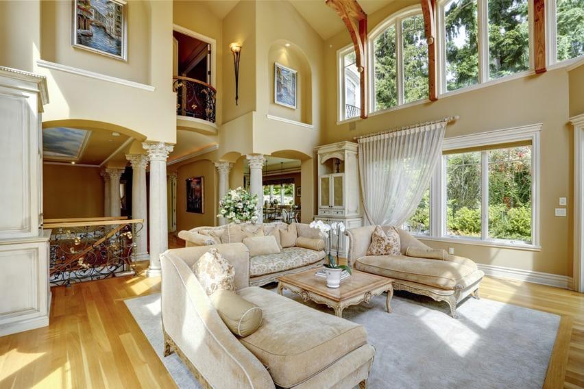 Luxury living room with second floor balcony