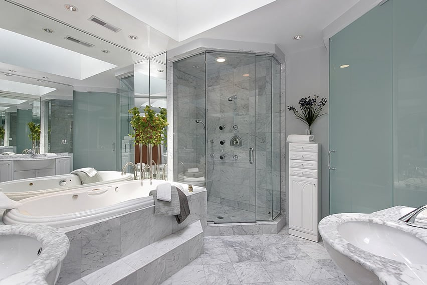 Luxury master bath shower white and grey marble design