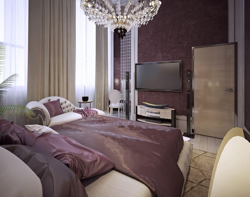 Luxury purple bedroom with glass chandelier