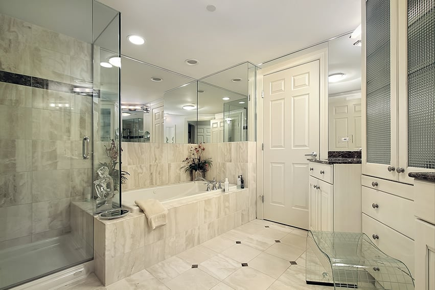 Master bathroom in white with large glass shower