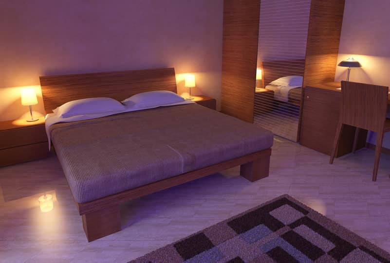 Minimalistic purple themed bedroom