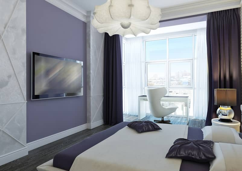 Modern apartment with purple white theme