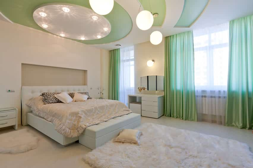 Modern bedroom green white theme