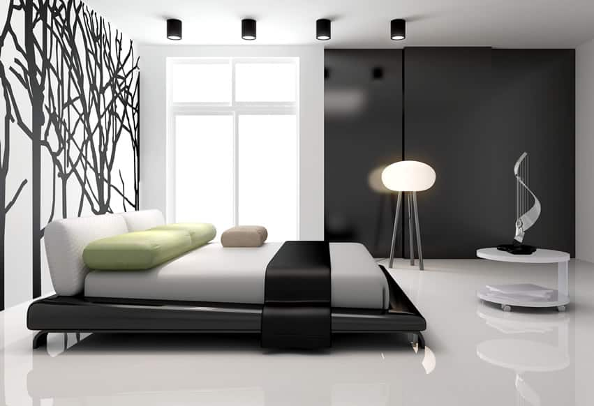 Modern bedroom with tree wall mural