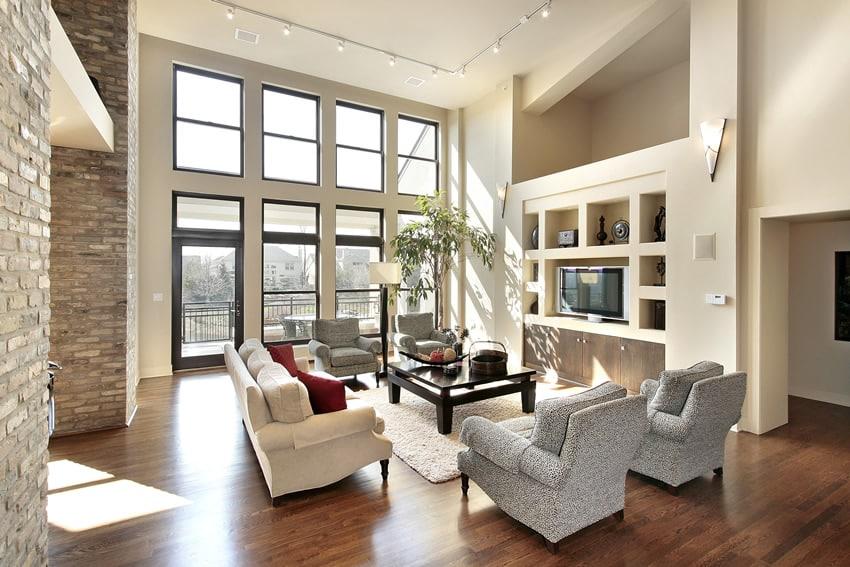 Open floor plan living room with hardwood flooring