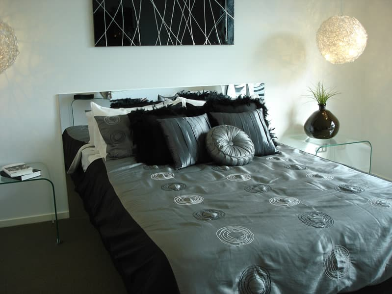 Trendy modern bedroom black grey bed covering