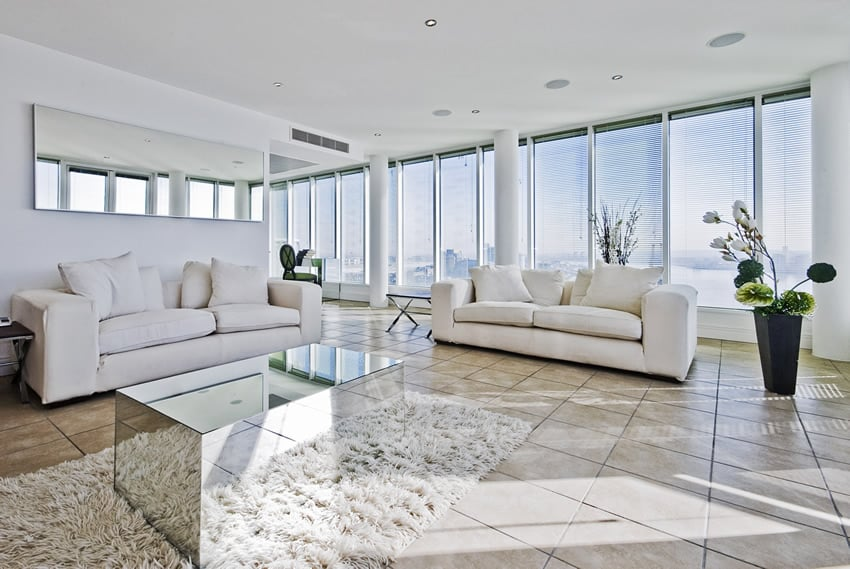 White decorated penthouse living room