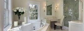 White master bath in luxury home