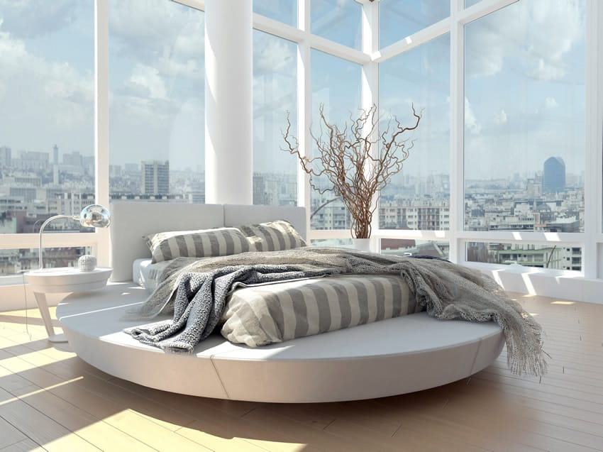 Amazing view modern bedroom tall windows