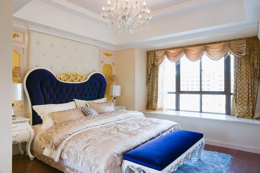 Attractive bedroom with elegant decorations