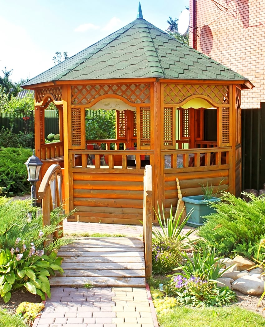 Backyard wood gazebo with foot path