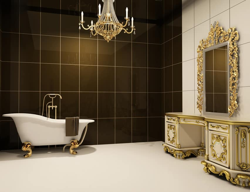 Gold themed luxury bathroom with polished porcelain tiles in plain white and dark olive