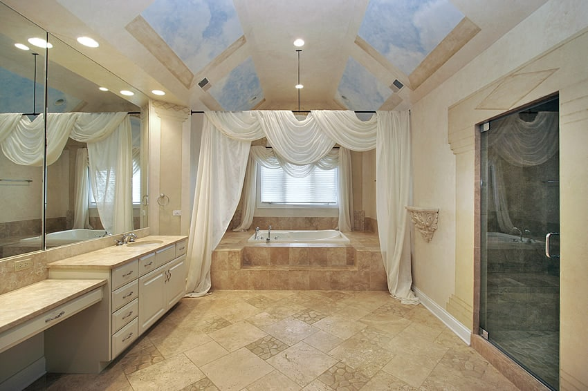 Bath room sky ceiling design mural white drape designing for Bathroom floor mural sky