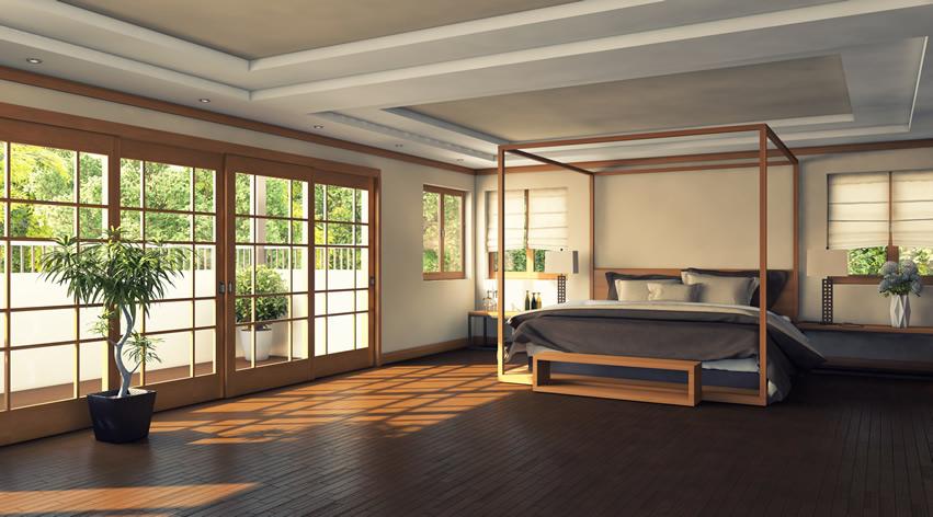 Beautiful bedroom canopy bed garden view