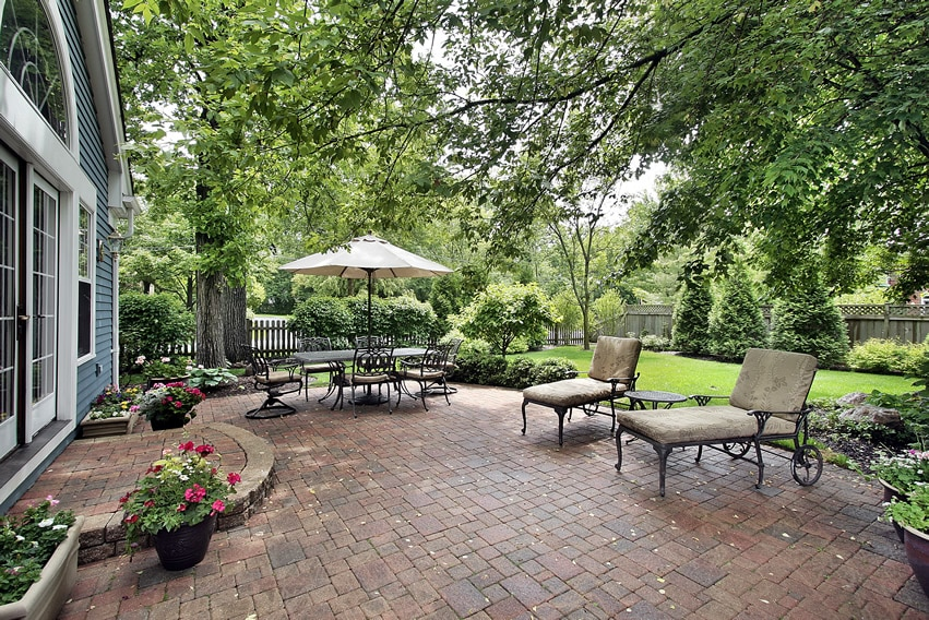 Traditional garden patio in classic old-country style