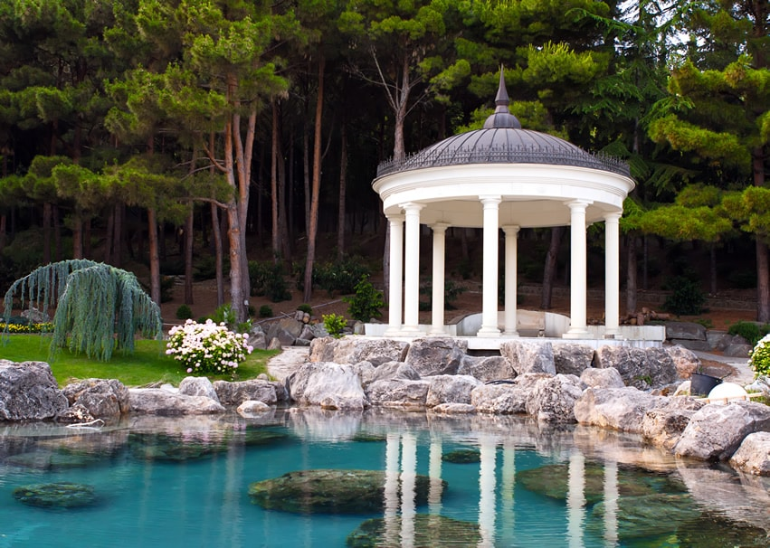 Beautiful gazebo on man made pond