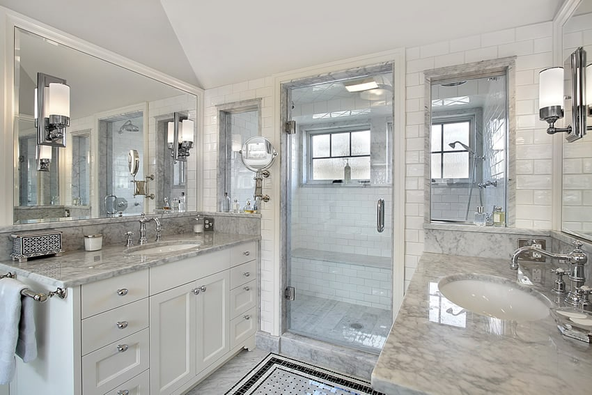 Classic all-white bathroom with contemporary features