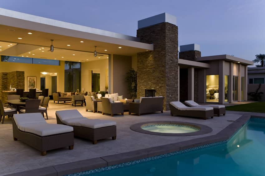 Beautiful swimming pool at luxury home