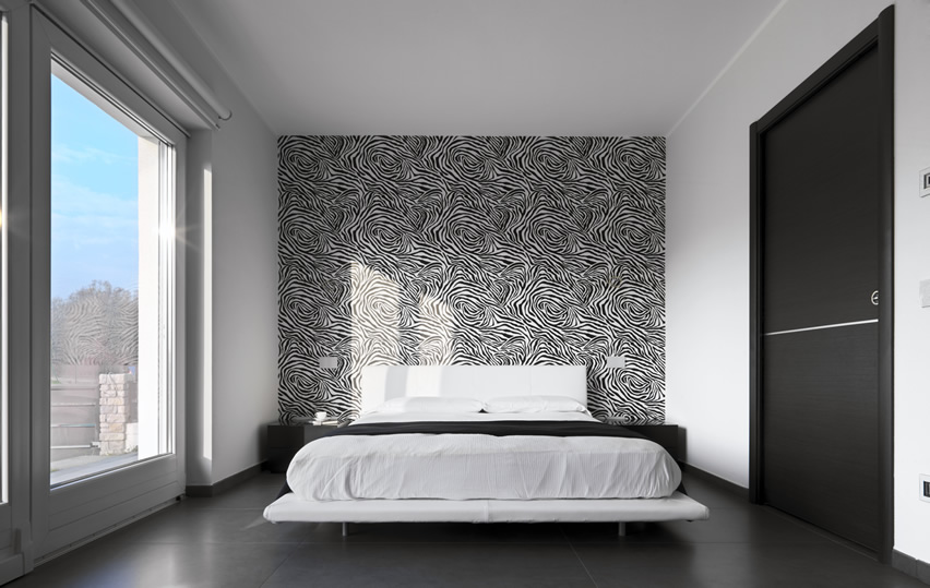 Bedroom in modern design animal print wall glass window