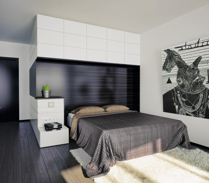 Bedroom modern design black backdrop wall art