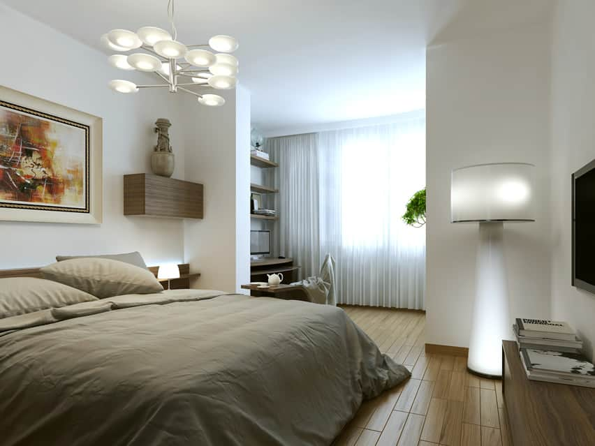 Bedroom modern interior design white lamp