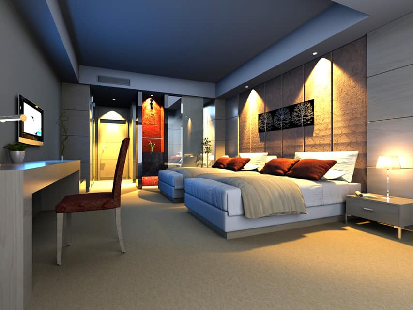 Bedroom with modern theme attractive lighting