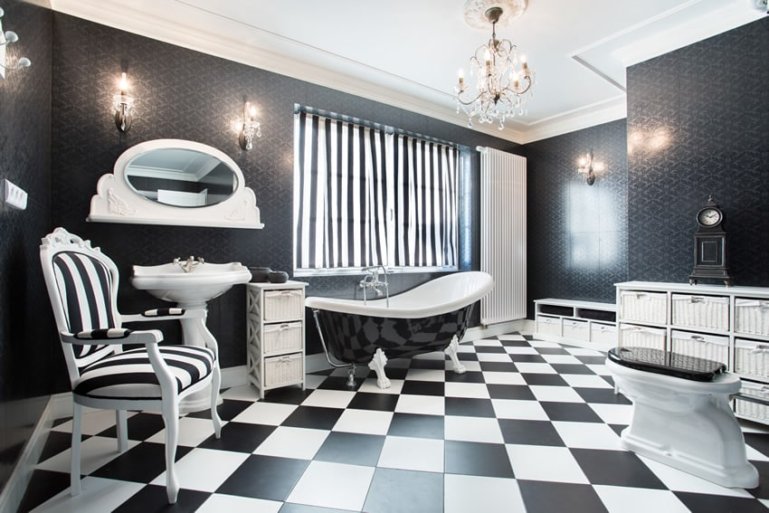 Black and white designed bathroom is a modern take on Art Deco