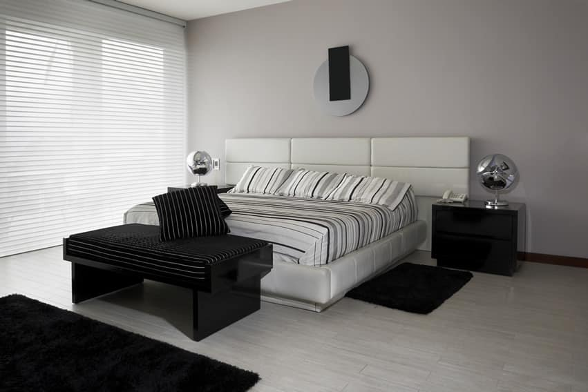 Black white style modern bedroom silver deco