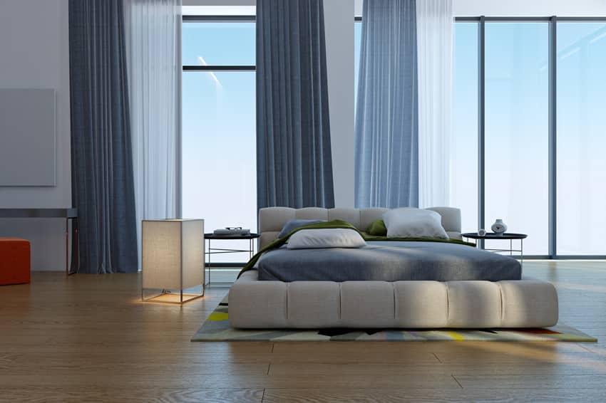 Clean trendy bedroom blue design