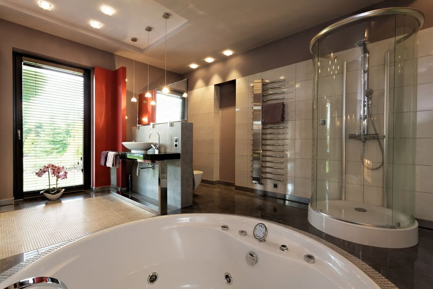 Contemporary bathroom design uses modern color combinations, layout and materials