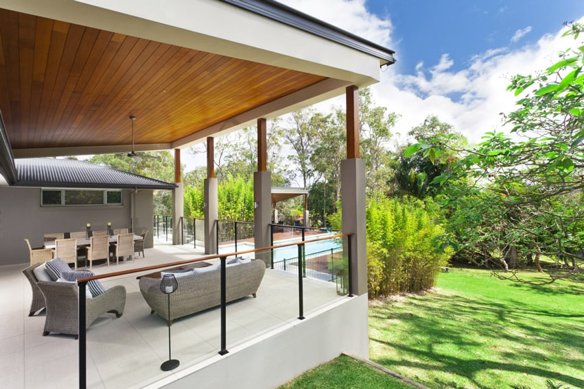 Modern garden patio with great view of the landscaping and pool area