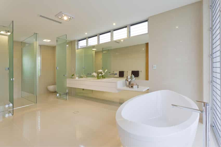 Ultra-modern with custom glass designed bathroom