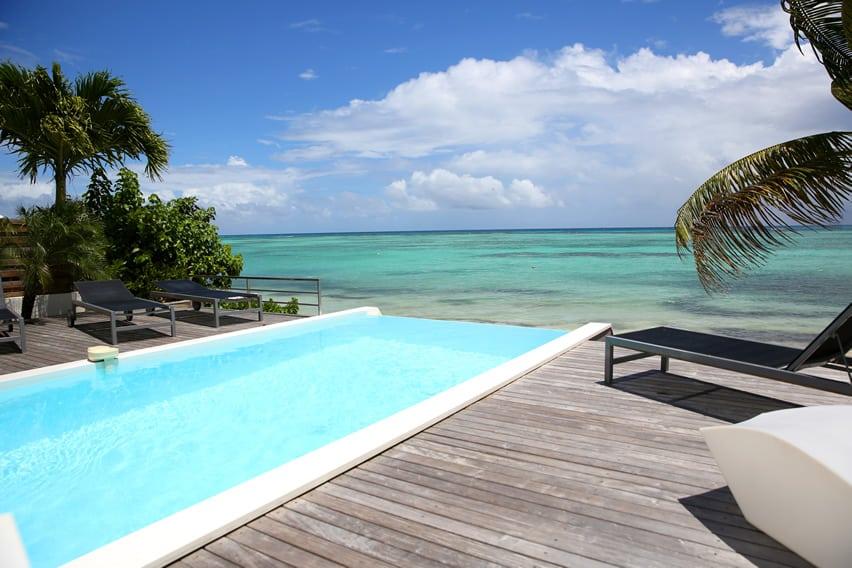 Deck around oceanfront pool