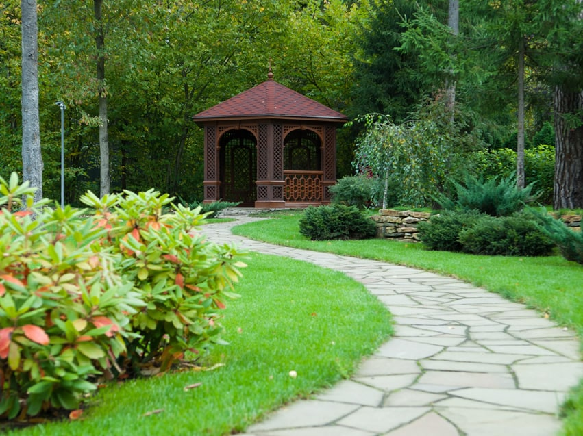 Decorative gazebo at end of stone path