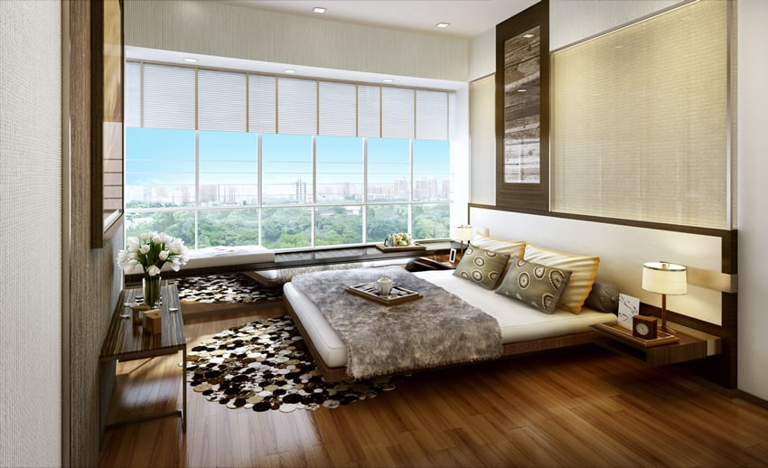 Design modern bedroom city park view