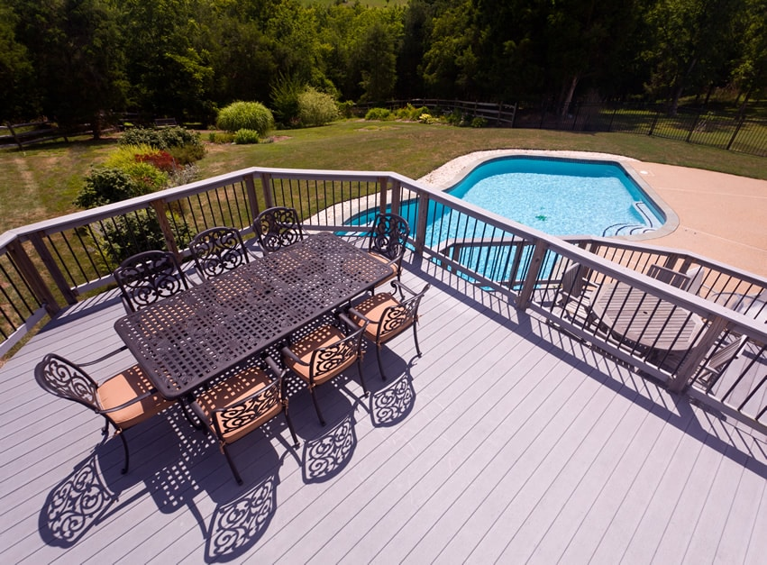 Elevated composite deck with pool view