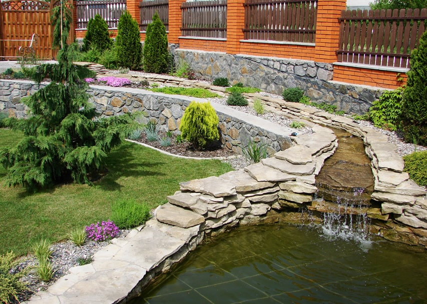 Garden water feature rock river and pond