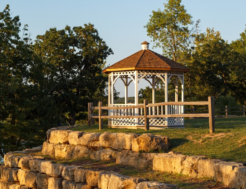 Gazebo on hill ledge