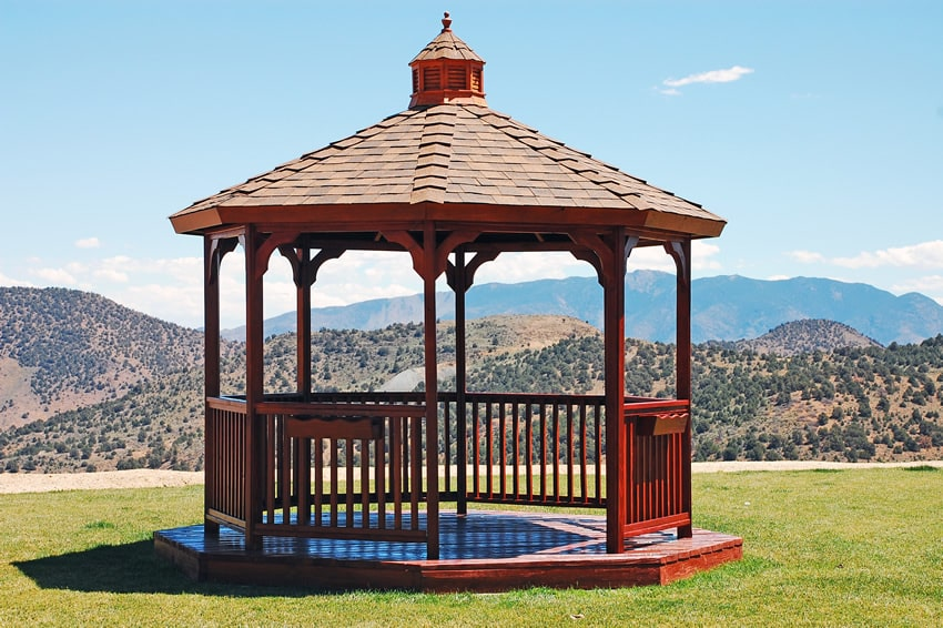 Gazebo with expansive mountain view