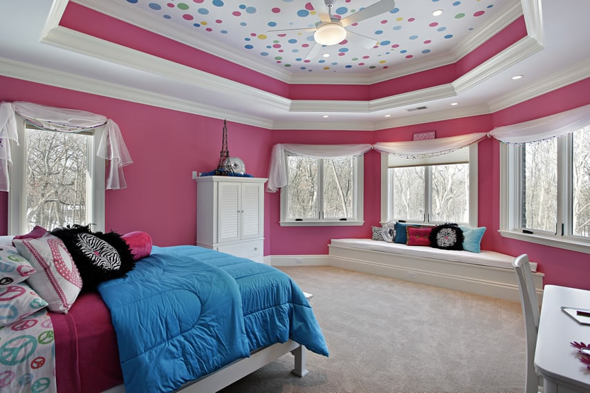 Polka dot girl's bedroom with octagonal tray ceiling