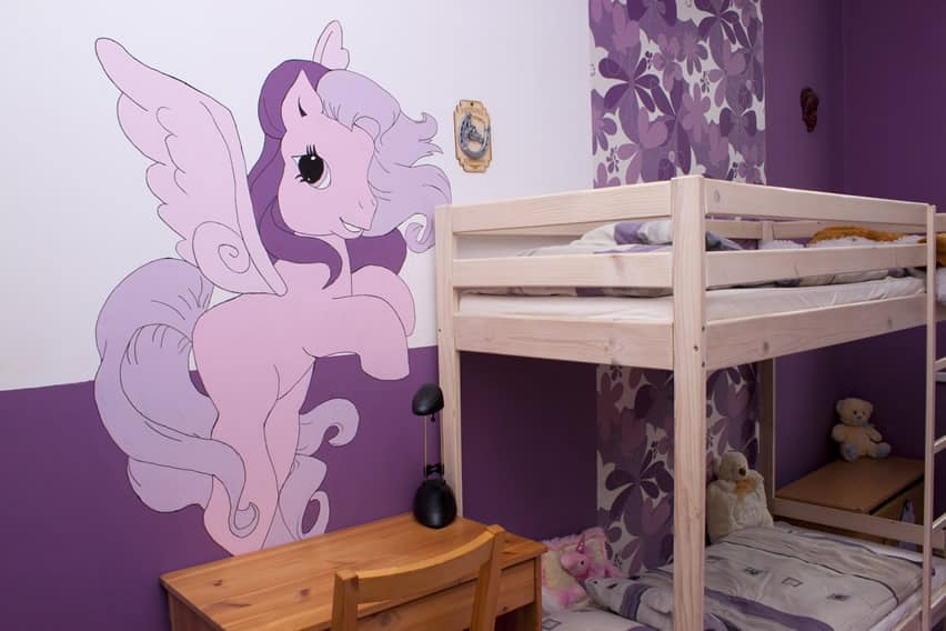 Bunkbed girl's room with My Little Pony wall mural art