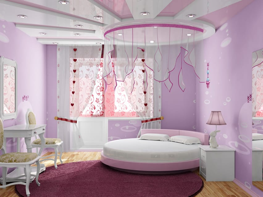 Girl 39 S Bedroom With Cute Canopy Over This Room S Circular Bed