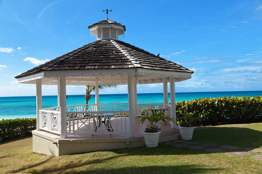 Gorgeous white gazebo with ocean view