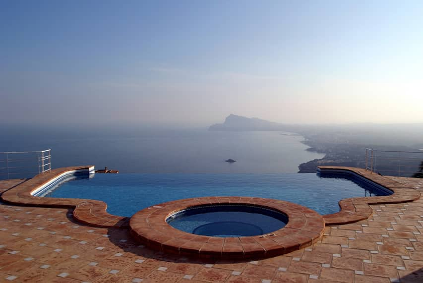 Infinity pool with amazing view in spain